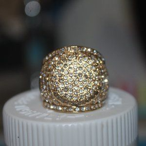 Nwt: Large Gold Plated Cocktail Ring